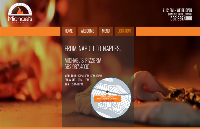 Image of Michaels Pizzeria Home Page