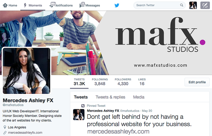 Image of MAFX Studios Twitter Page